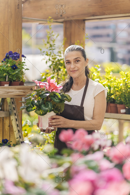 Beautiful middle aged woman working in plant nursery smiling and looking at camera.