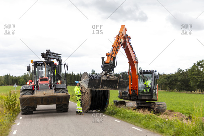 View of digger at work. Detailed shot.
