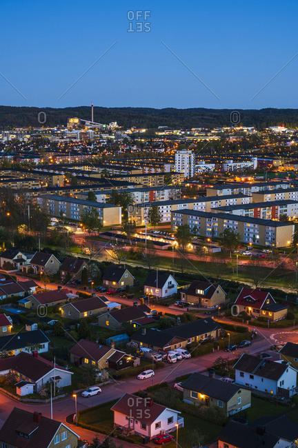 Aerial shot of housing area. Detailed shot.