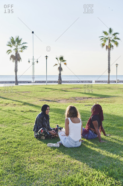 Smiling group of diverse young female friends talking together while sitting in a park on a sunny afternoon