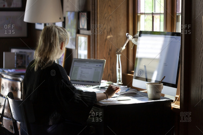 Woman using computer at home. Detailed shot.
