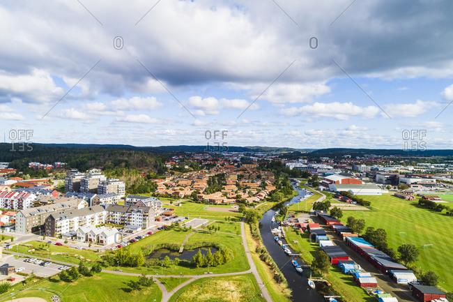High angle view of suburban buildings