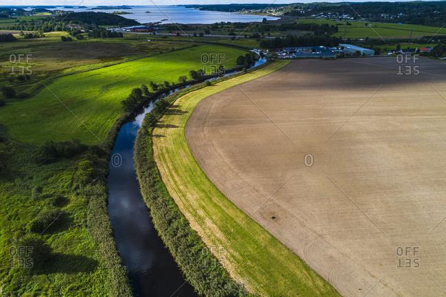 Aerial view of rural landscape. Detailed shot.