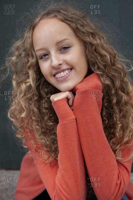 Portrait of happy teenage girl wearing braces
