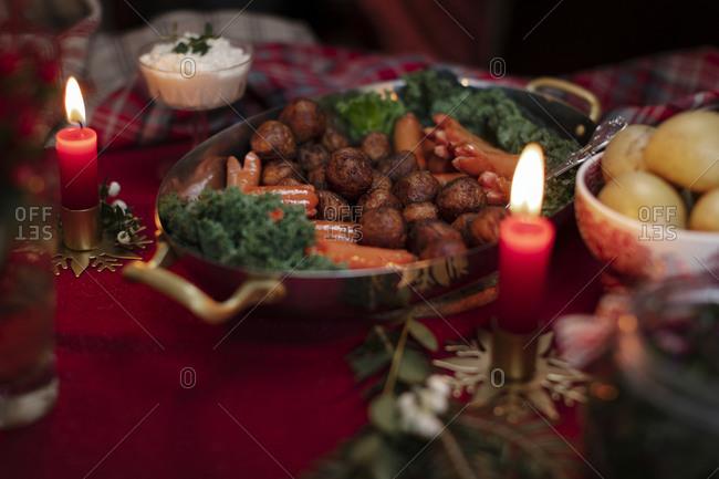High angle view of Christmas food on table