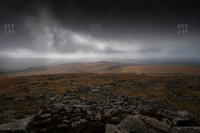 Moorland in Heavy Cloud, Rocks in Foreground, Wide Angle
