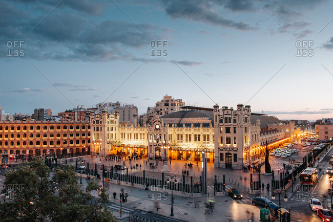 Valencia, Spain - October 29, 2019: Valencia's train station Estacion del norte at dusk