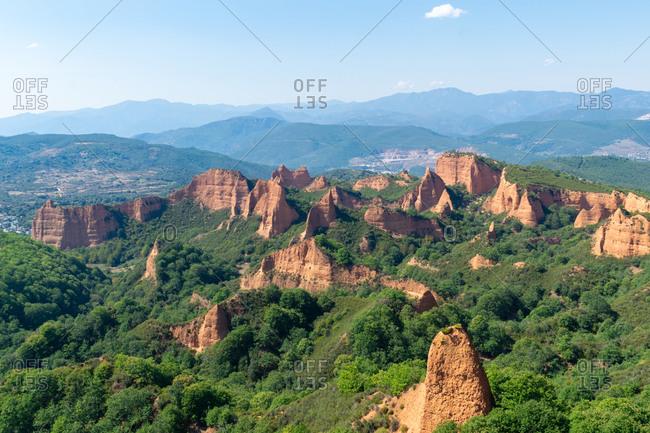 View of Las Medulas, ancient roman gold mine. Castilla y Leon, Spain