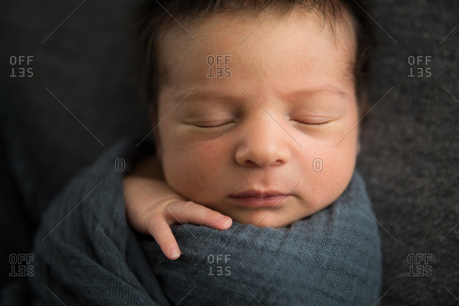 Close Up View of Sleeping Newborn Baby's Face, Lots of Hair