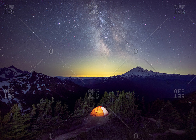Tent under the Milky Way on the top of a mountain, Washington, US