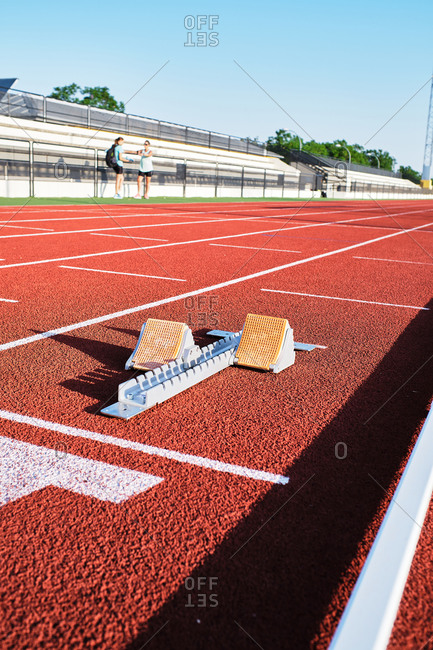 Starting block on athletic track