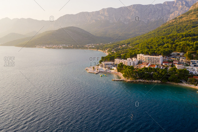 Aerial view of Zaostrog city during a scenic sunset, Croatia.