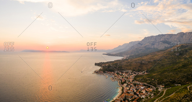 Panoramic aerial view of Podgora coastal city during a scenic sunset