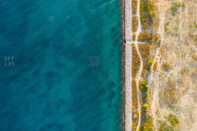 Aerial view of clear water at coastal line near Split, Croatia.