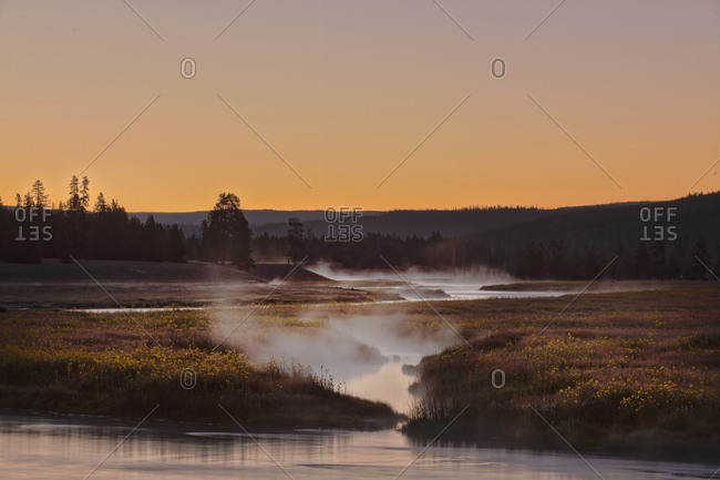 Yellowstone National Park Madison river steam