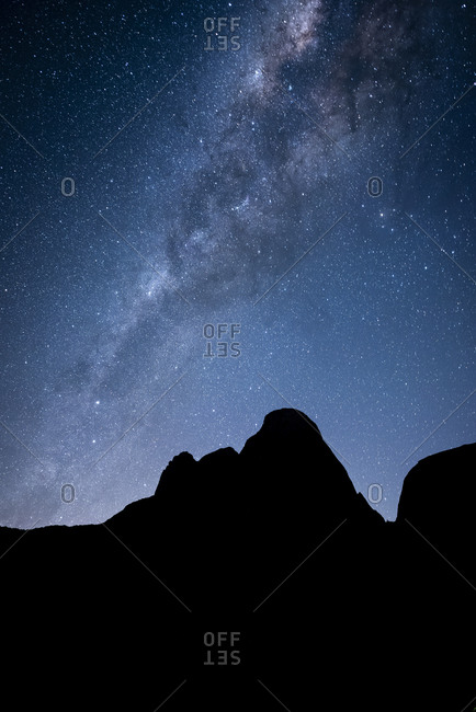Beautiful view to mountain silhouette and milky way on a night sky