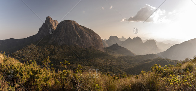 Beautiful view to big rocky peak and other mountains on the rainforest