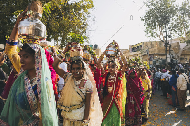 Rajasthan, India - January 29, 2018: Native women dressed in colorful saree for Jaisalmer Desert Festival