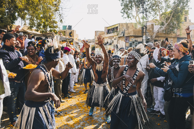 Rajasthan, India - January 29, 2018: Tribal people performing a dance during the parade Jaisalmer Desert Festival