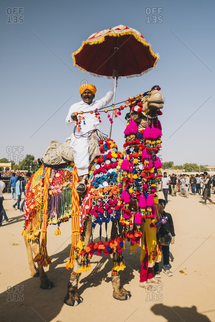 Rajasthan, India - January 29, 2018: Indian man riding colorful camel during the parade of Jaisalmer Desert Festival