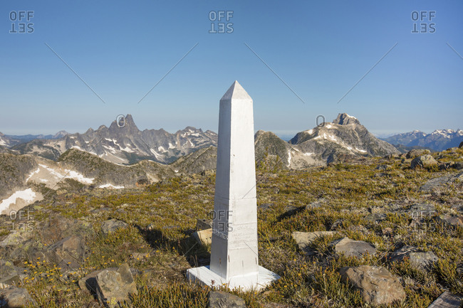 Chilliwack, BC, Canada - August 15, 2020: Border marker along the 49th parallel between Canada and United States