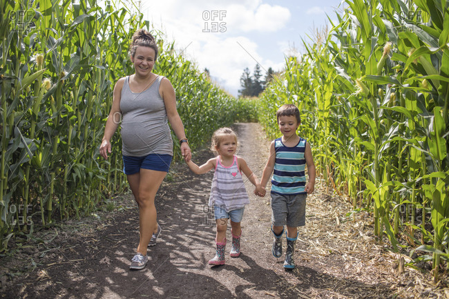 Pregnant mother enjoying corn maze with her two children,