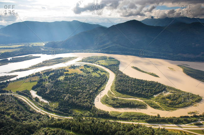 Trans Canada Highway and the Fraser River in Flood near Hope, B.C.