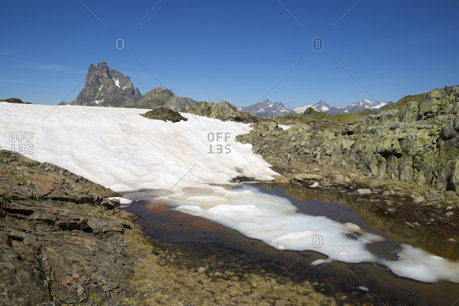 Landscape in Ossau Valley, Pyrenees in France.