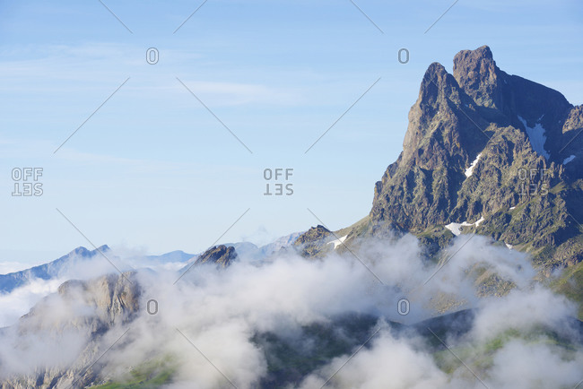 Midi Ossau Peak in Ossau Valley, Pyrenees in France.