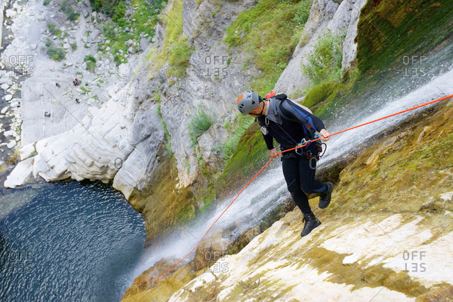 Canyoneering Sorrosal Canyon in the Pyrenees, Broto village, Huesca Province in Spain.