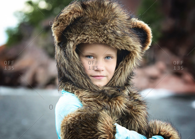 Young Girl in Spirit Hood Outdoors