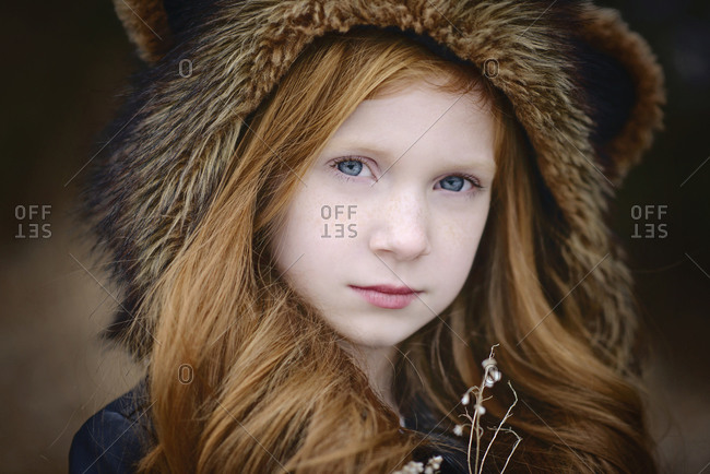 Young Girl Long Red Hair Wearing Bear Spirit Hood