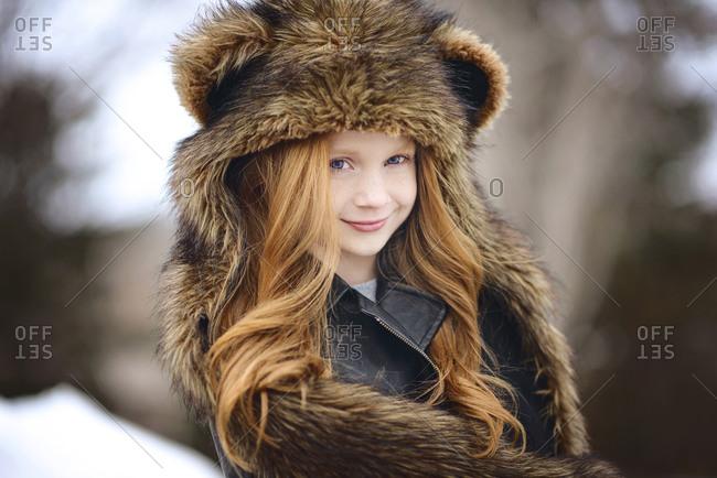 Young Girl Long Red Hair Wearing Bear Spirit Hood