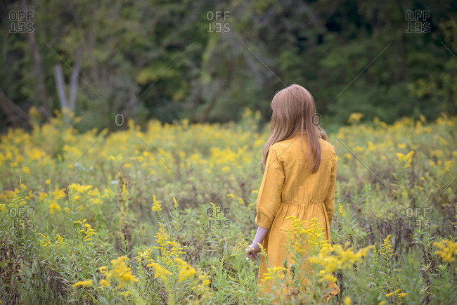 Young Girl in Yellow Dress in a Field of Flowers