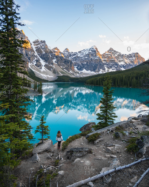 Walking Into Perfect Sunset at Moraine Lake at Lake Louise Banff