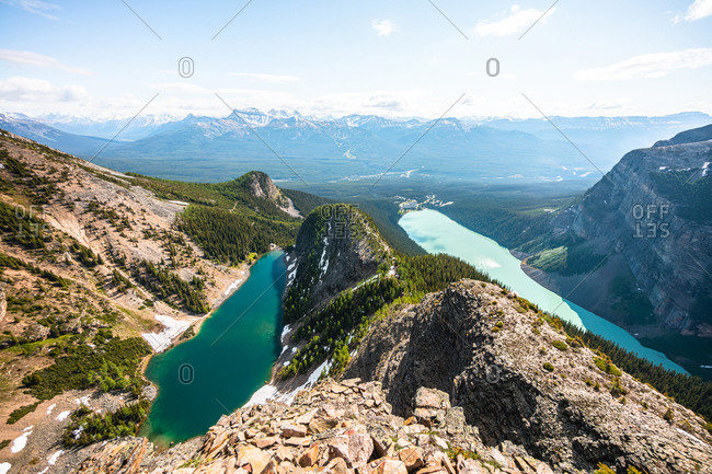 Lakes Agnes and Lake Louise as Seen From Devil's Thumb Peak in Banff