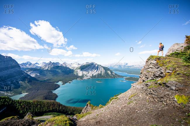 Hiker Above Upper Kananaskis Lake in Canadian Rockies