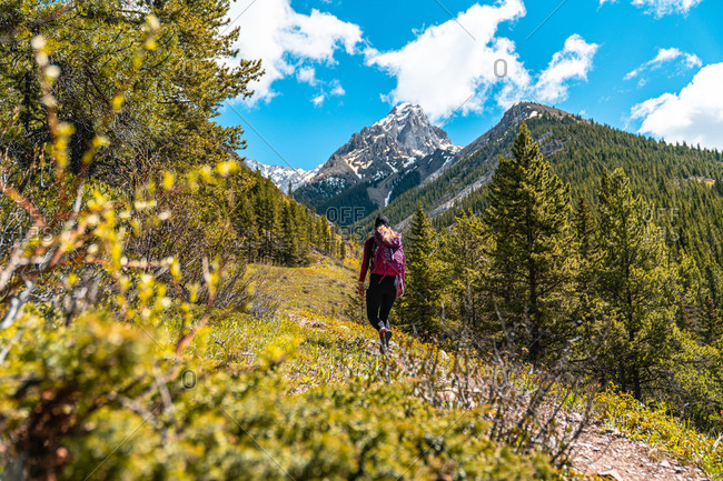 Female Hiker Walking to Grizzly Peak in Kananaskis Country