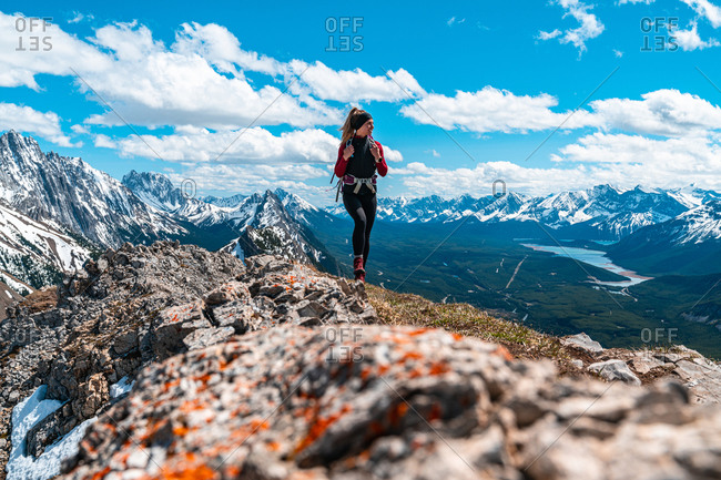 Hiking Above the Canadian Rockies Surrounded by Mountain Peaks