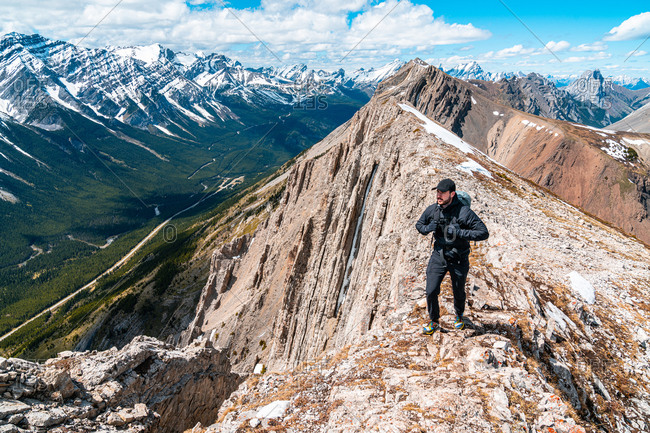 Hiking on Top Grizzly Peak in Kananaskis Country Near Banff Alberta