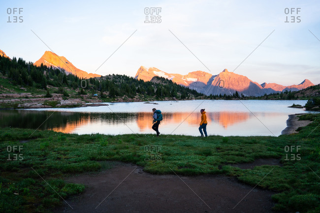 Walking Along Limestone Lake at Sunset in Height of the Rockies