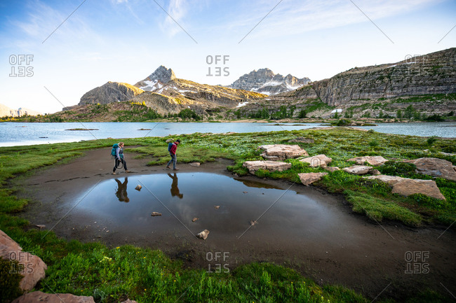 Couple Hiking Together at Limestone Lakes Height of the Rockies
