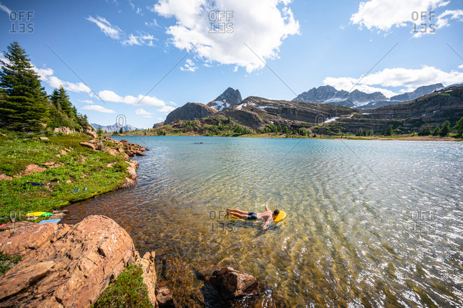 Swimming in Limestone Lakes Height of the Rockies Provincial Park