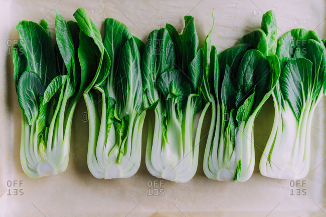 Bokchoy split in half ready to grill
