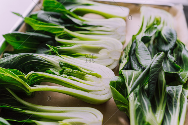 Green leafy bokchoy ready to roast in the oven