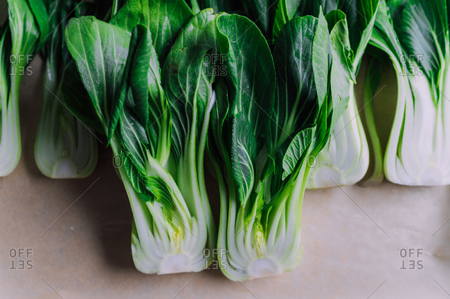 Dark green fresh and juicy bokchoy ready for a salad grill