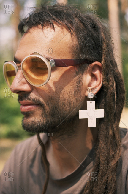 Man at the ethnic hippie festival Fairy Tale. Kyiv. Ukraine.