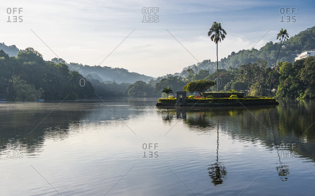 Kandy, CP, Sri Lanka - September 26, 2019: Island in the middle of Lake Kandy in Sri Lanka