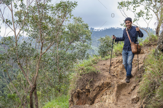 Man descending from Adam's peak close to Ella in Sri Lanka