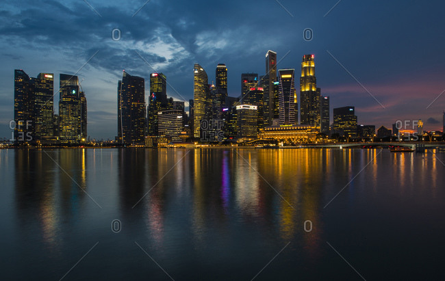 Singapore, Singapore - October 21, 2016: The skyline of from Marina Bay